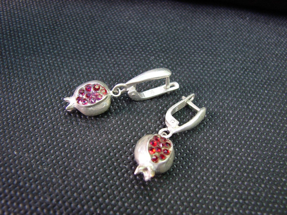 Pomegranate Earrings Sterling Silver 925 with Red Zircon