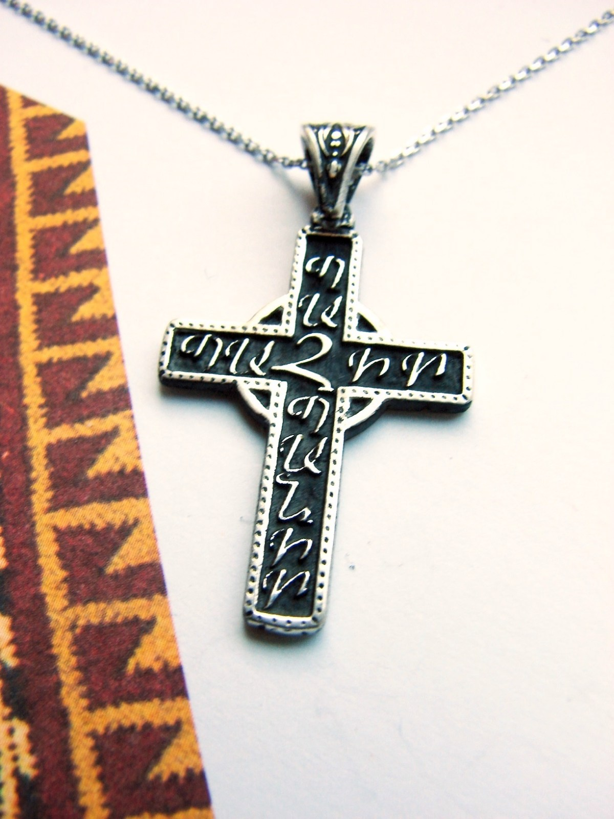 Armenian Cross Save and Protect Sterling Silver 925, Silver chain as a gift