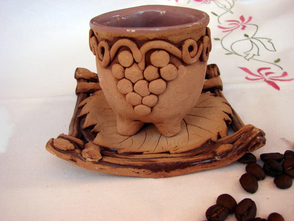Ceramic Coffee Mug with plate, Espresso or Arabic Coffee cup, Rustic ceramic pottery