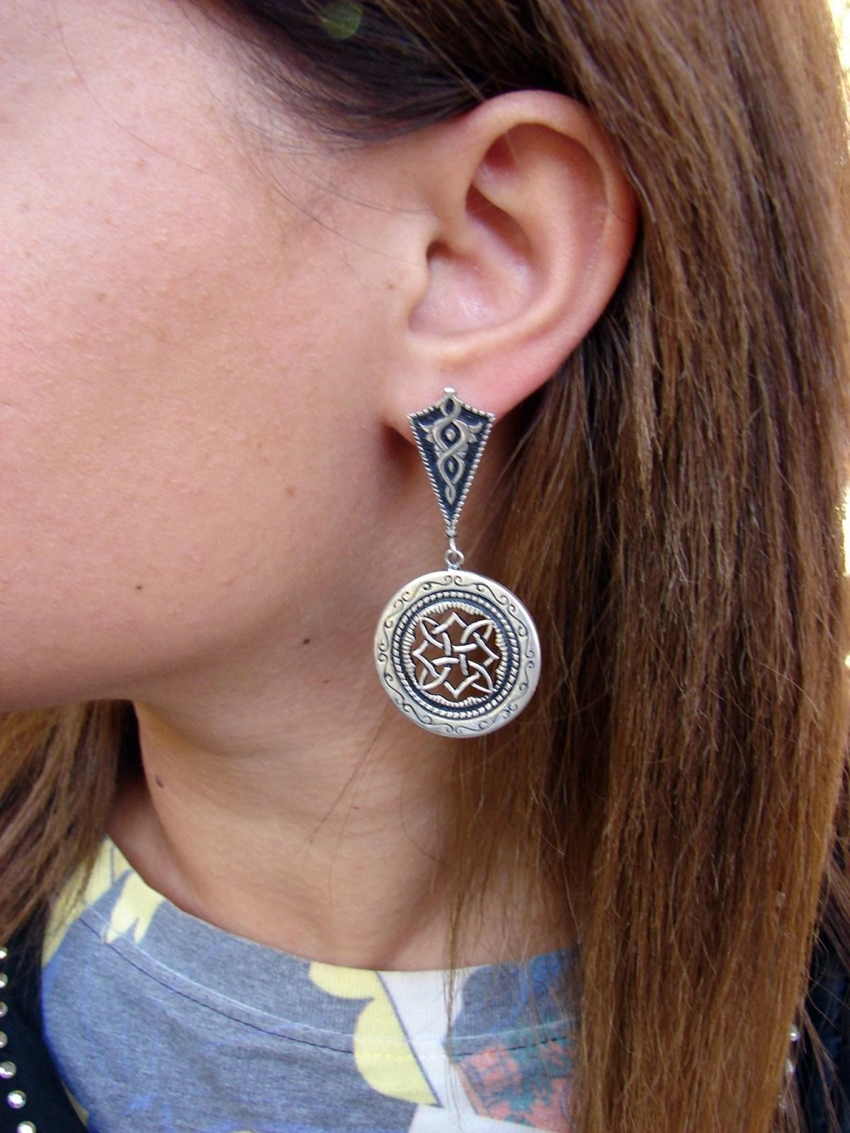 Long Round Earrings Sterling Silver 925