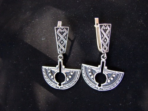 Pomegranate Long Earrings Sterling Silver 925