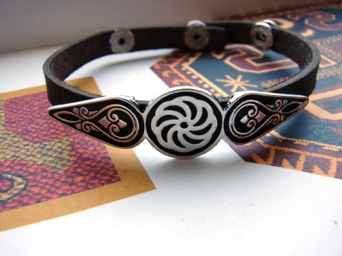 Leather Silver Bracelet for Men and Women, Wheel of Eternity