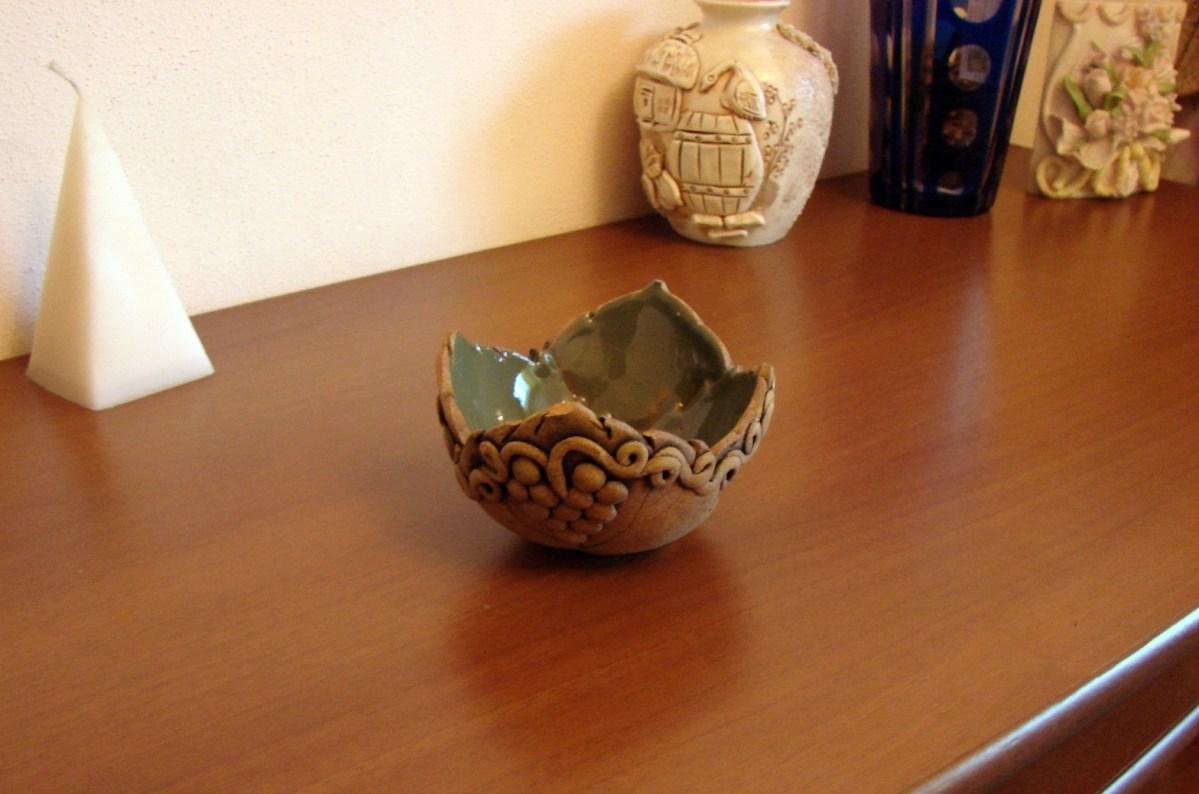 Ceramic Bowl, Candy vase, Key tray, soap dish, Grape leaves decor
