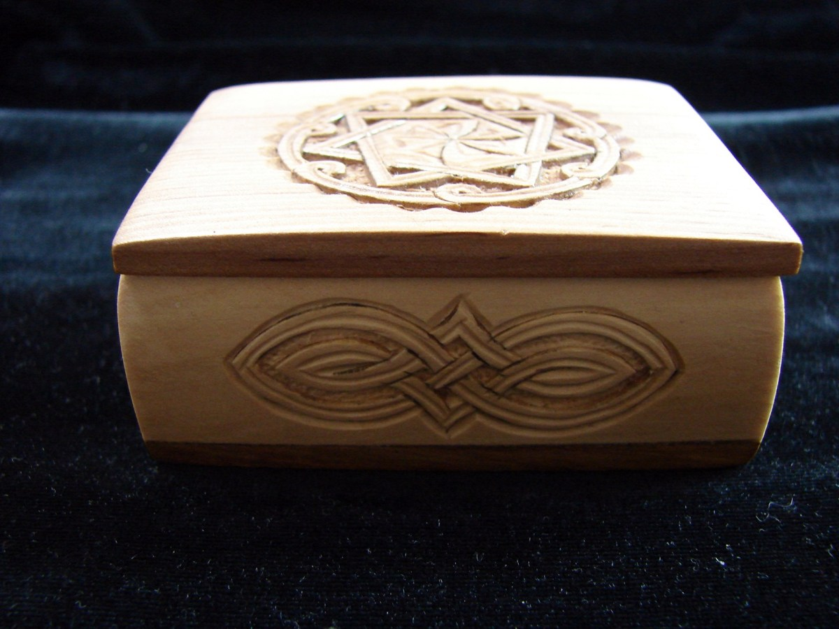 Hand Carved Wooden Jewelry Box