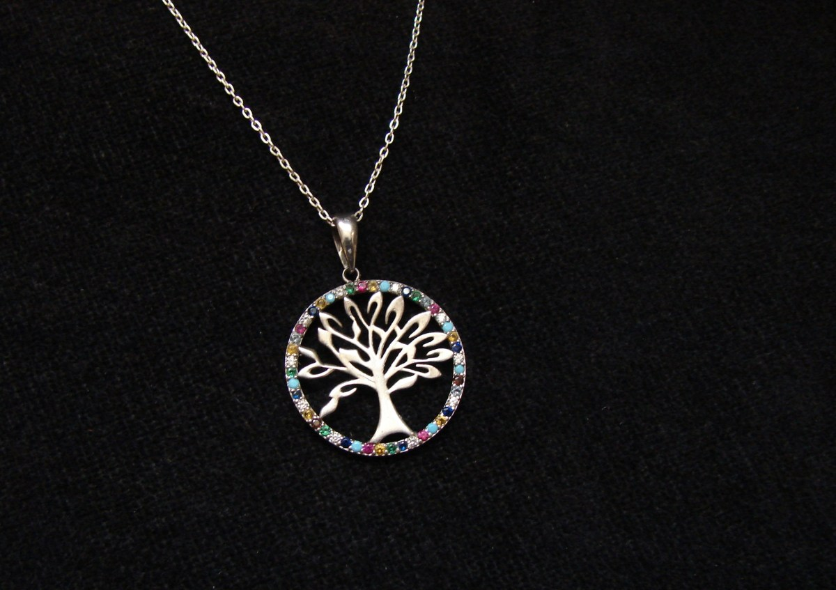Tree of Life Pendant Sterling Silver 925 with Rainbow Zircons