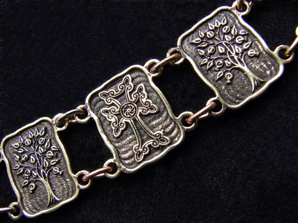 Wide Linked Bracelet Sterling Silver 925, Tree of Life, Cross