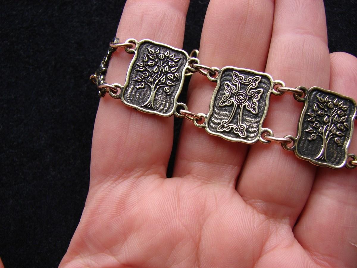 Wide Linked Bracelet Sterling Silver 925, Tree of Life, Cross
