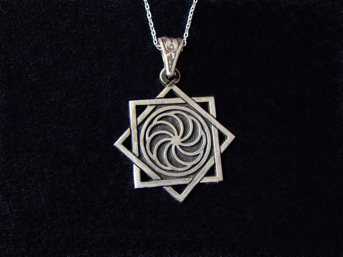 Pendant Eight pointed Star and Wheel of Eternity Sterling Silver 925