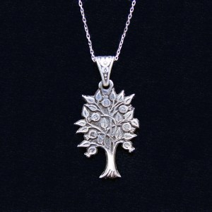 Pomegranate Tree Pendant, Tree of Life, Sterling Silver 925