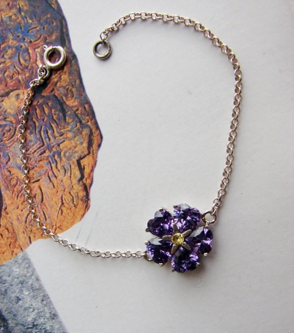 Bracelet Forget me Not Flower Sterling Silver 925, Armenian Symbol, Anmoruk