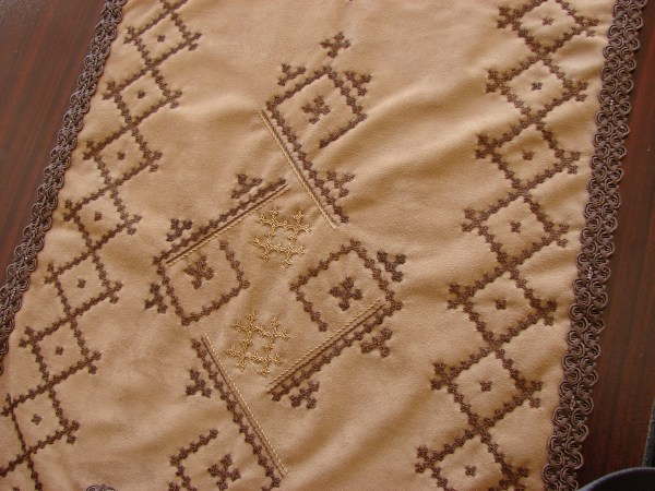 Handmade Runner Velvet Tablecloth Armenian Marash Embroidery Handcrafted Kutch