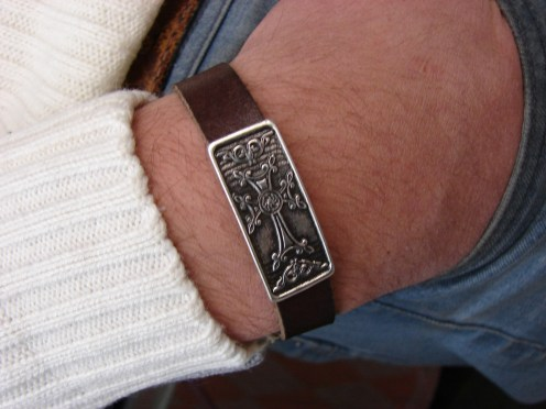 Leather & Silver Bracelet for Men and Women