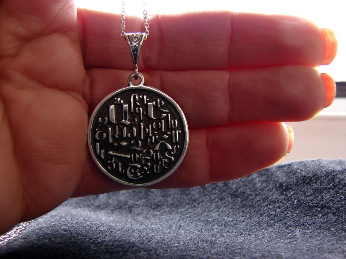Armenian Alphabet Round Pendant 925 Sterling Silver, Armenian Letters