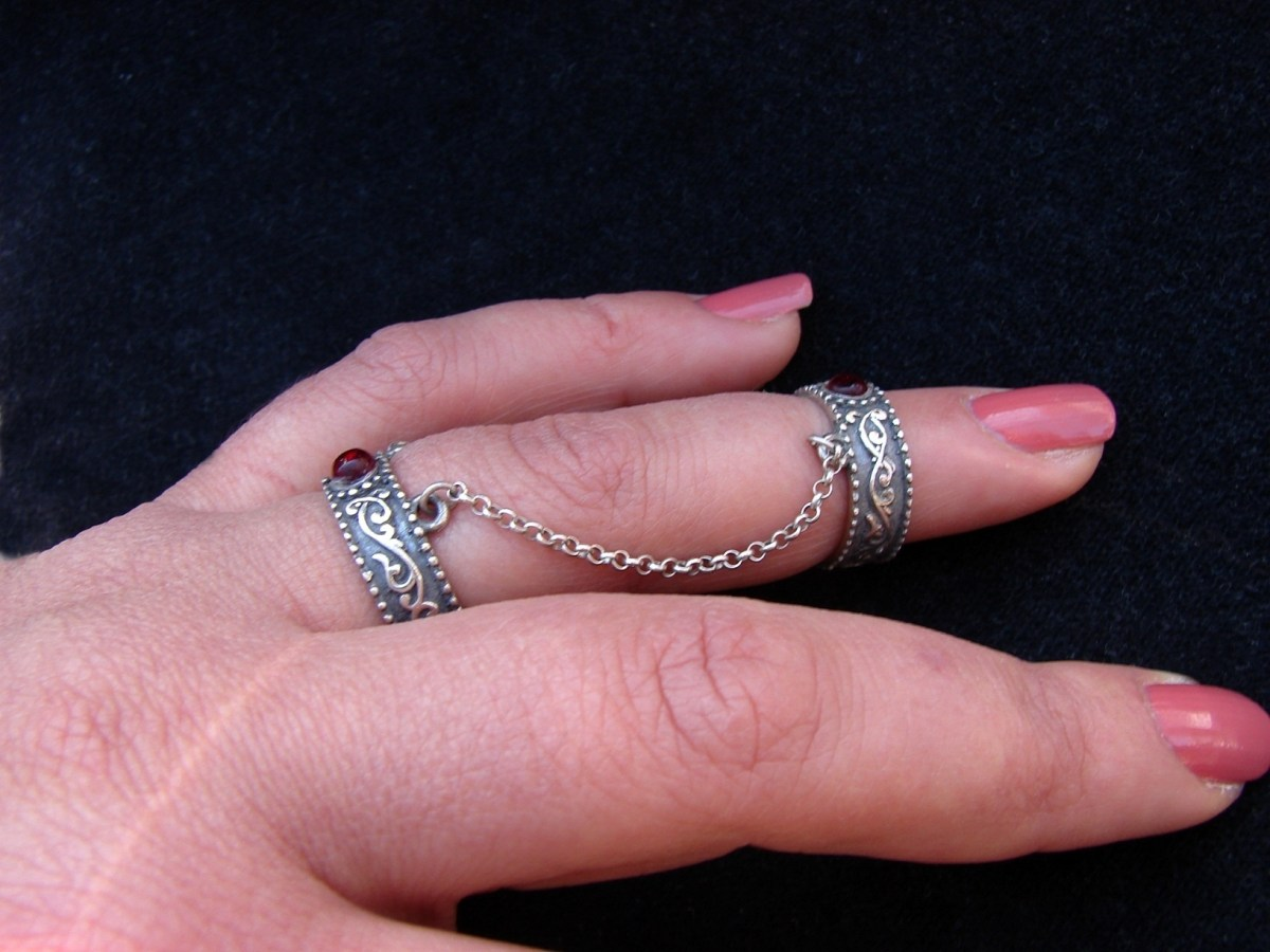 Silver Double Ring 925 Sterling Silver, Adjustable multi-finger