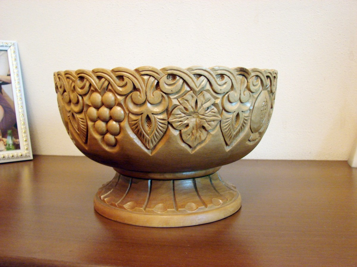 Large Hand Carved Natural Wooden Bowl,Vase