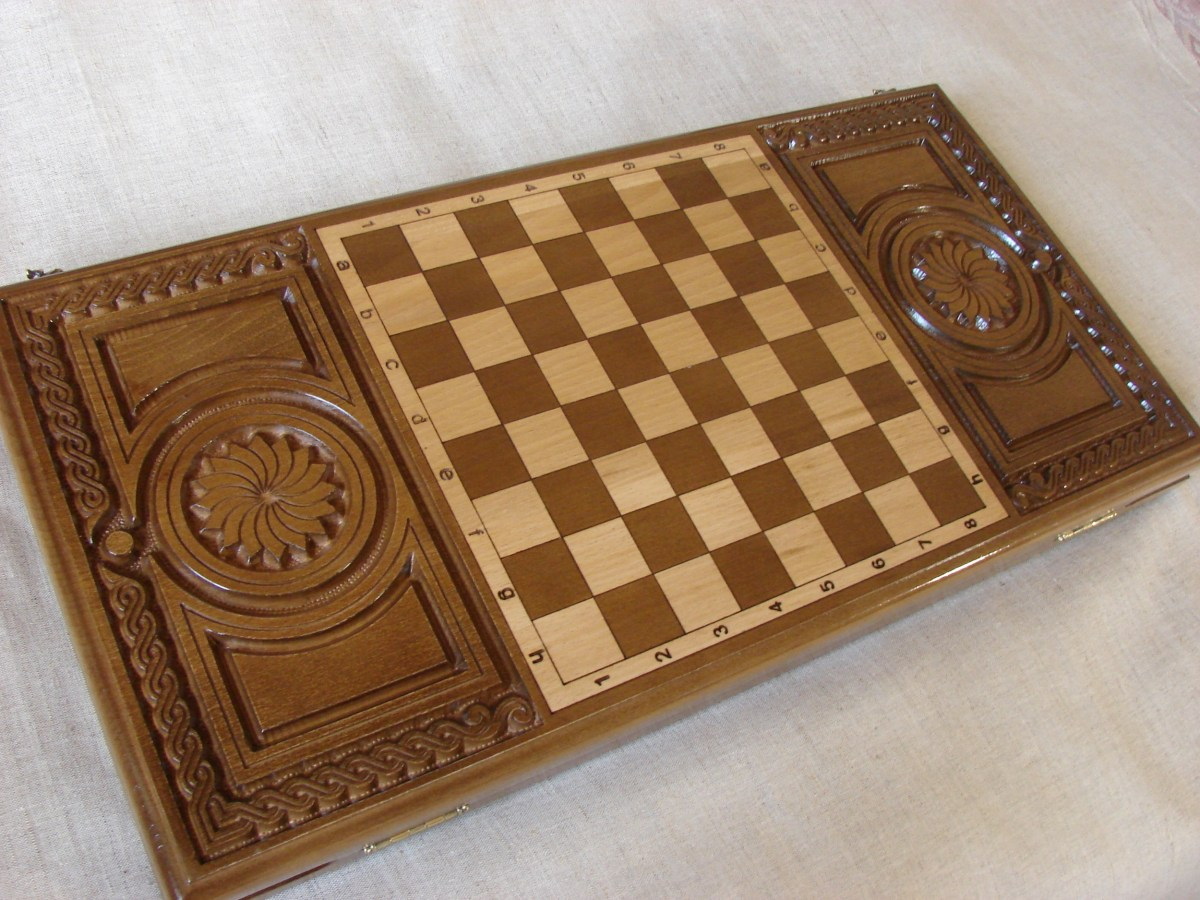 Wood Backgammon Board, Armenian Handmade Nardi Nardy