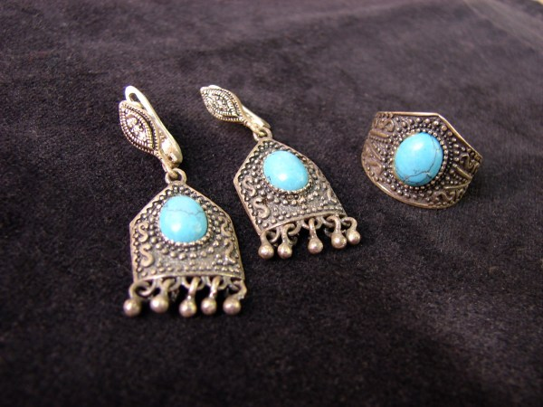 Jewelry Set Turquoise Earrings and Ring Sterling Silver 925