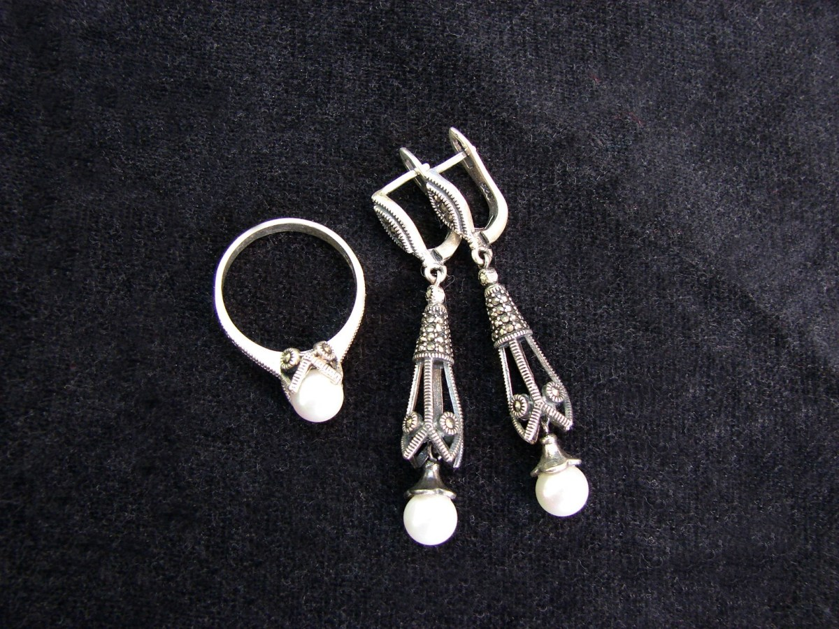 Jewelry Set Pearl Earrings and Ring Sterling Silver 925