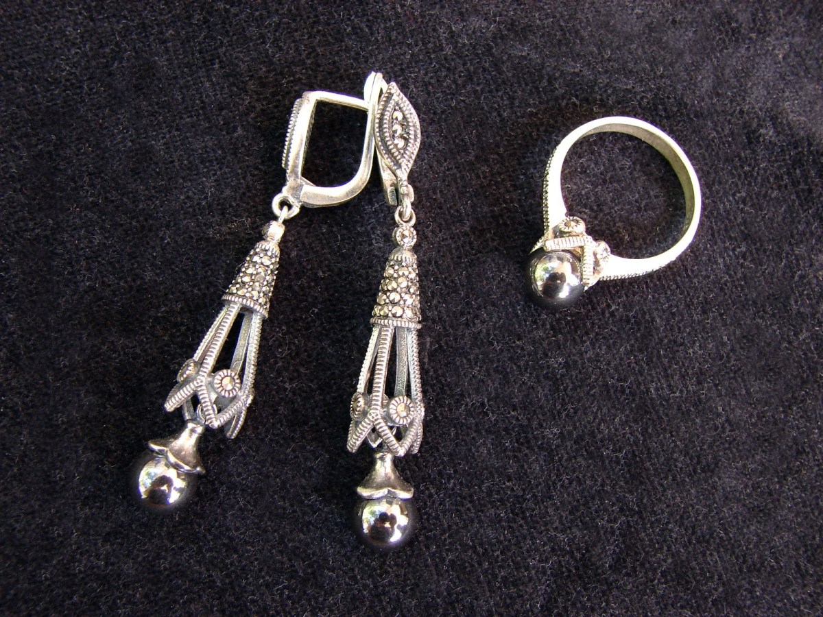 Jewelry Set Hematite Earrings and Ring Sterling Silver 925