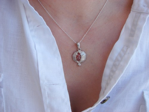 Pomegranate Necklace Armenian Sterling Silver 925 with Red Zircon