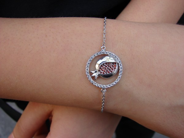 Pomegranate Charm Bracelet 925 Sterling Silver with White and Red Zircon
