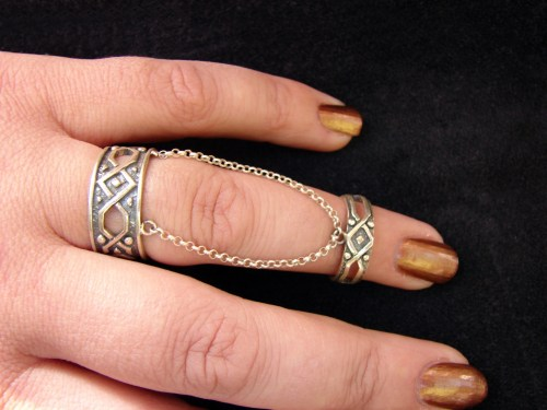 Silver Double Rings Antique Style, Chains linked, Adjustable multi-finger rings