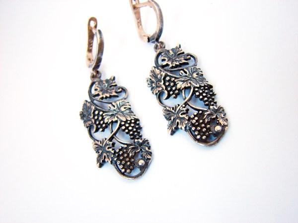 Silver Earrings Bunch of Grapes, Dangle Earrings