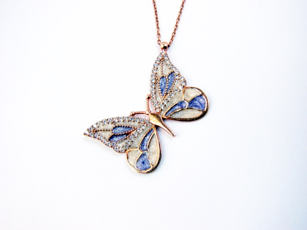 Butterfly Silver Necklace, Gold Plated Pendant, Color Enamel and Zircons