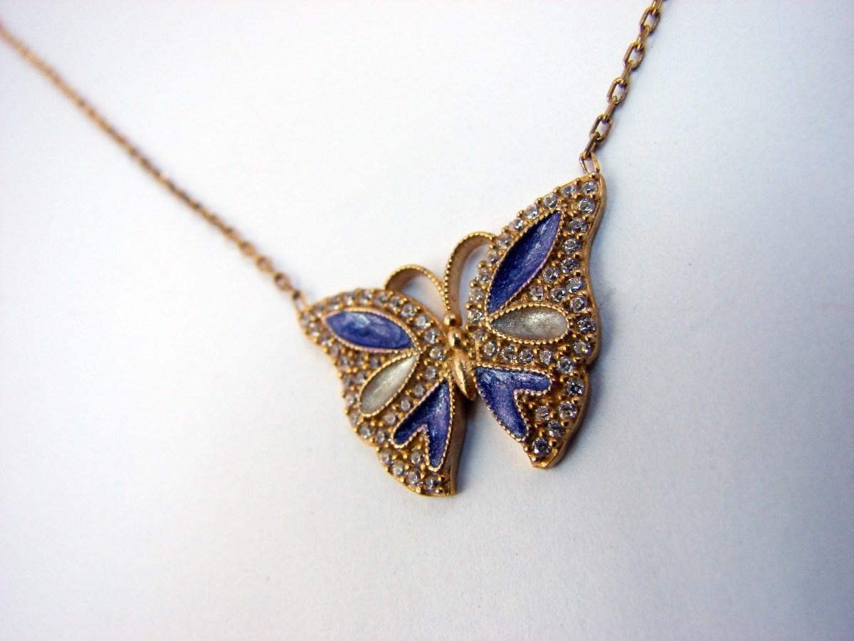 Silver Butterfly Pendant Necklace, Gold Plated, Blue Color Enamel and Zircons