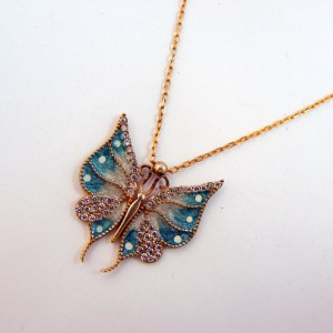 Silver Butterfly Necklace, Gold Plated Pendant, Sea Blue Color Enamel and Zircons