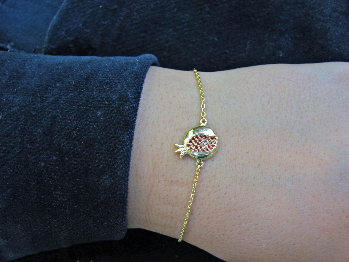 Gold Plated Pomegranate Bracelet 925 Sterling Silver with Red Zircon