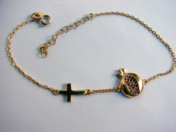 Pomegranate and Cross Silver Bracelet Gold Plated with Red Zircons