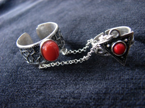 Silver Double Ring Coral Stones, chain linked, multi-finger rings