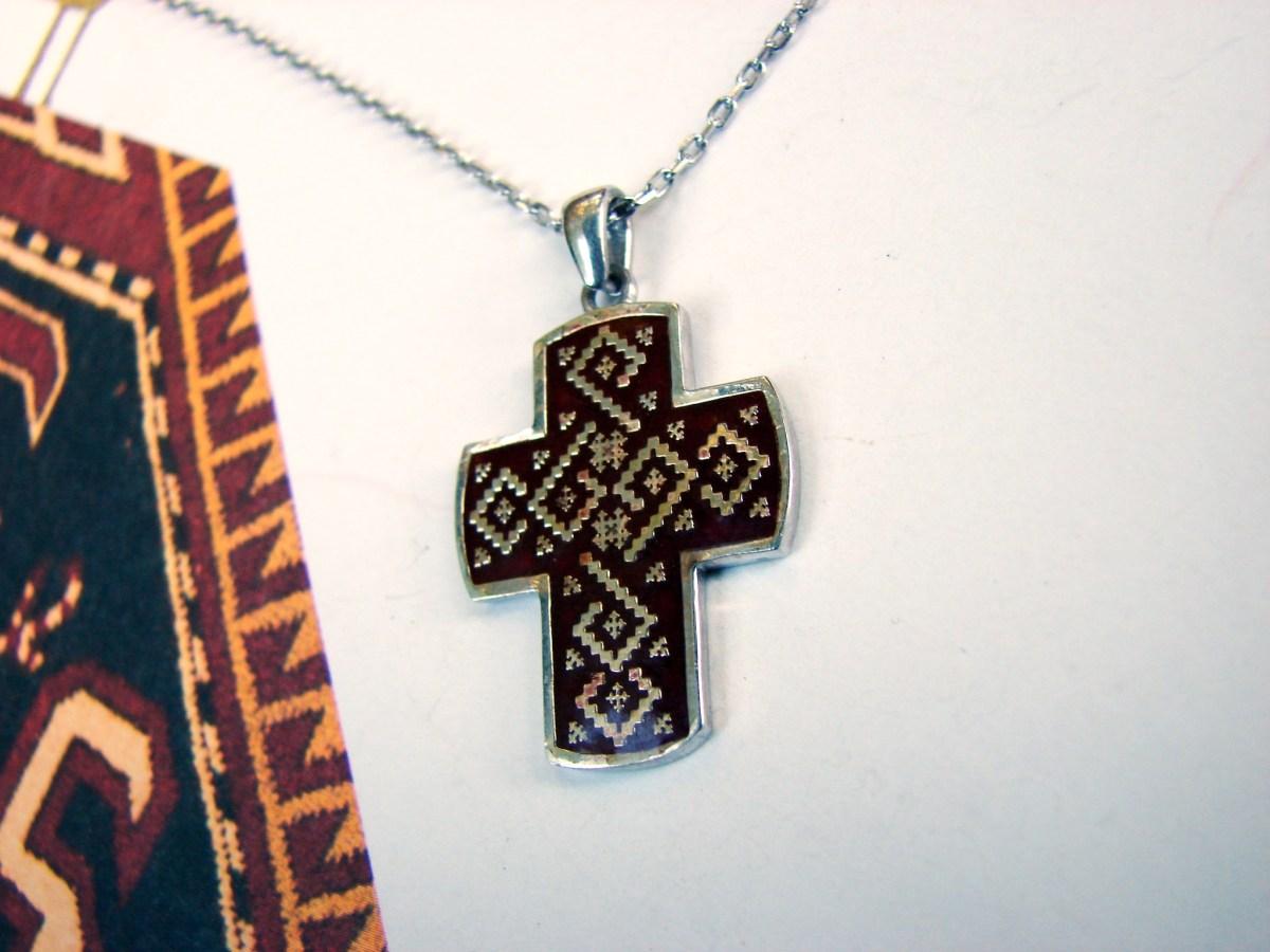 Silver Armenian Cross Enamel Plated Ethnic Ornament