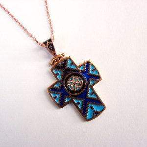 Armenian Cross Enamel Pendant Ethnic Carpet Ornament