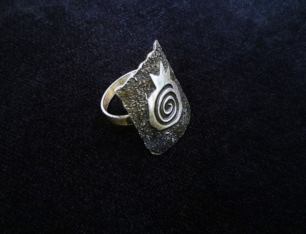 Wide Ring Sterling Silver Pomegranate Design