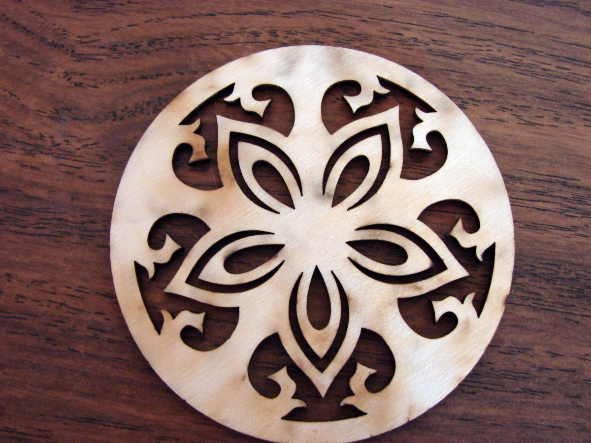 Wood Drink Round Coasters Set of 6 Laser Cut Coasters with Stand