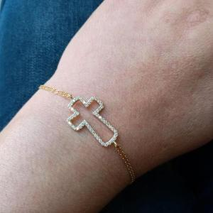 Sparkling Cross Bracelet Sterling Silver 925