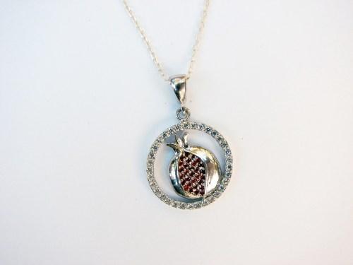Sparkling Pomegranate Pendant Sterling Silver 925