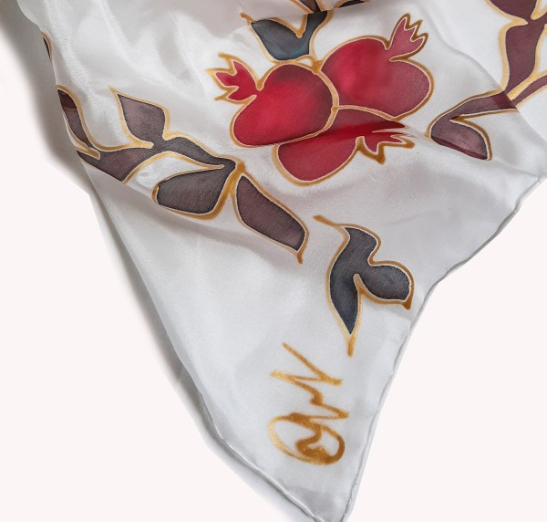 Silk Scarf Pomegranate Tree, Hand Painted Scarf