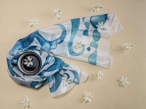Blue Ornament Silk Scarf, Hand painted Long abstract scarf