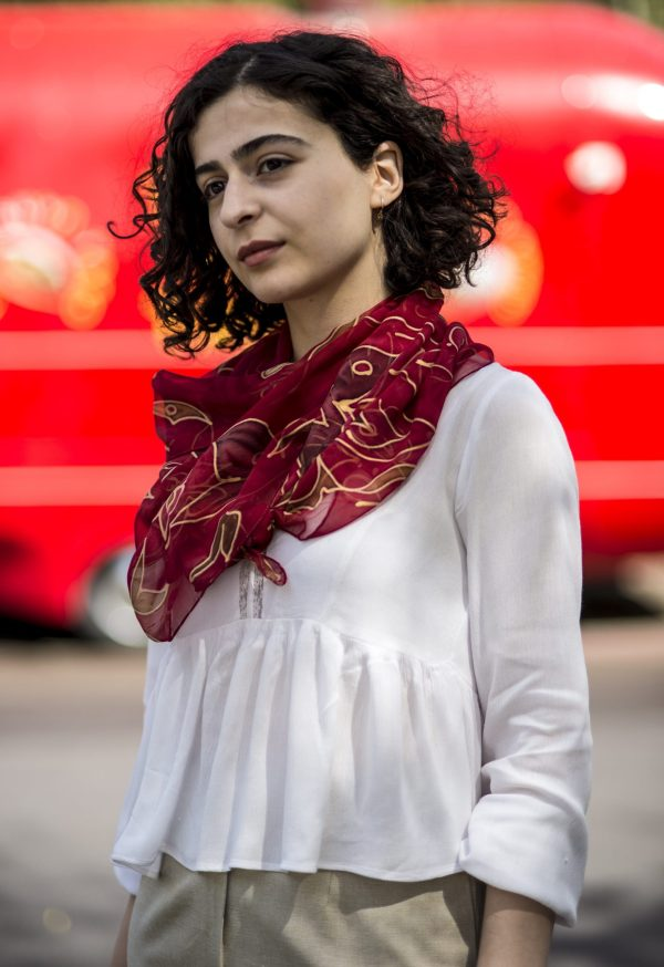 Red Silk Scarf, Hand Painted Scarf, Long abstract scarf, Elegant Red & Golden Flower Scarf