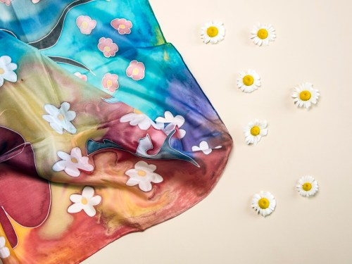 Silk Scarf Magic Garden, Hand Painted Scarf, Long Colorful scarf, Gift For Her, Fashion Scarf