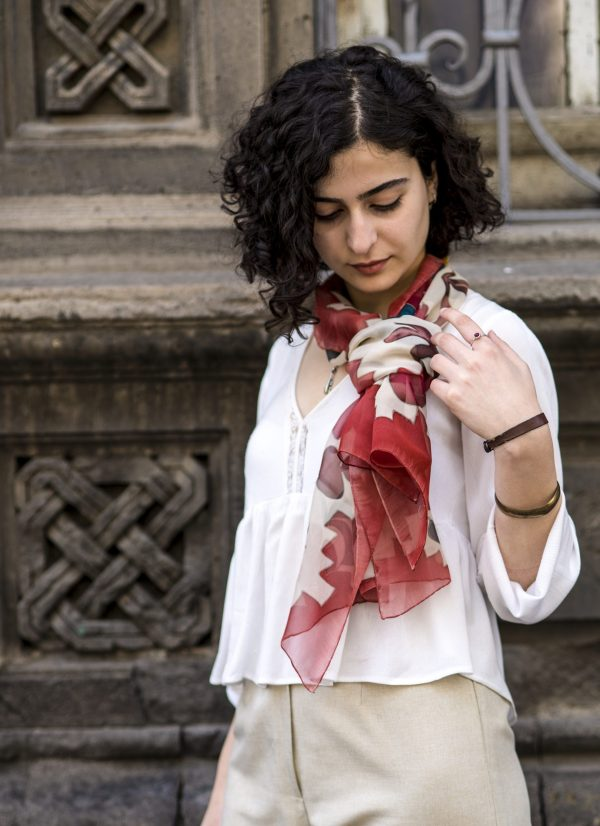 Silk Scarf Pomegranate & Carpet ornament, Red Hand Painted Scarf
