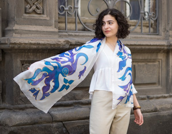 Silk Scarf Blue Birds, Hand painted Long abstract scarf