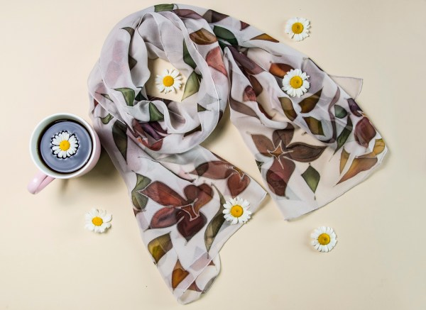 Silk Scarf Autumn mood, Hand Painted Scarf, Long Colorful scarf
