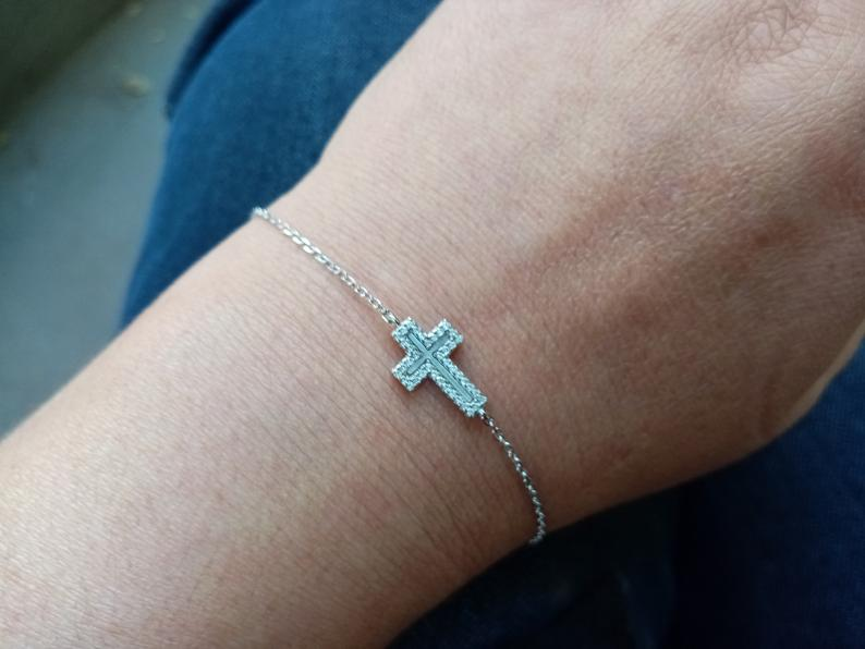 Cross Bracelet Sterling Silver 925 with Opal and Mother of Pearl