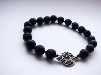 Beaded Bracelet Black Lava Stone and Wheel of Eternity Charm Sterling Silver 925