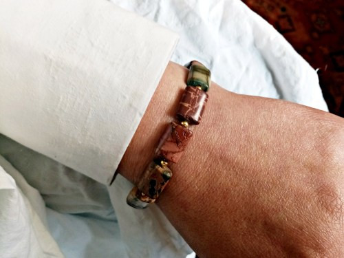 Bracelet Picasso Jasper Natural Gemstone, Handmade Jewelry, Gift for Her