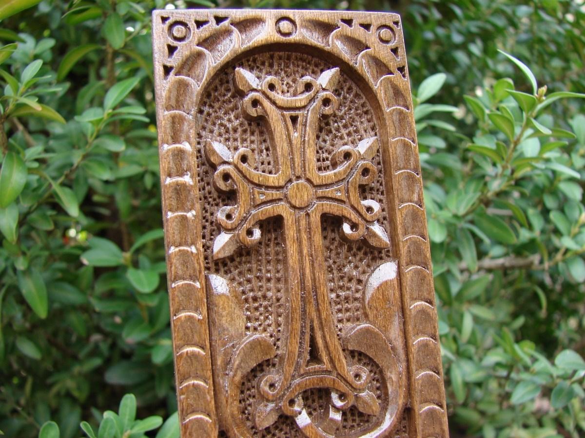 Wooden Khachkar Stand, Handmade Cross for Desk